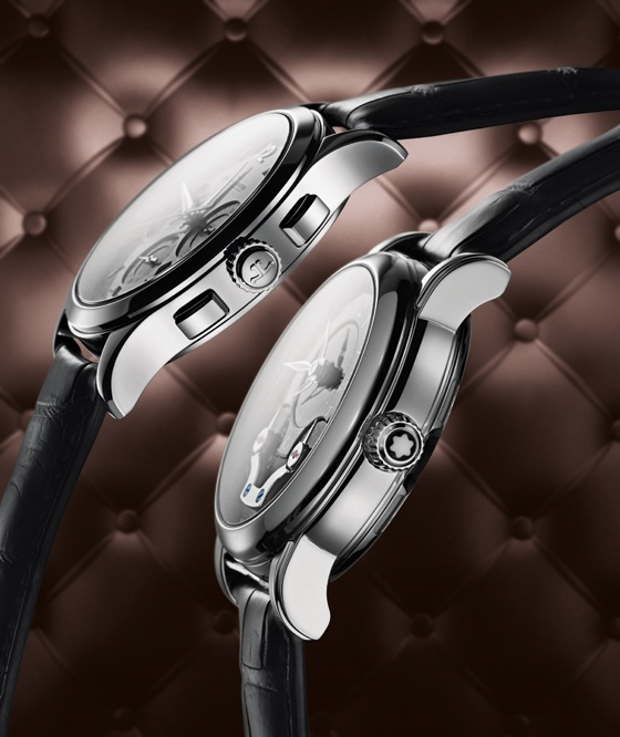 Jaeger-LeCoultre's case is slim and somewhat angular while Montblanc's is rather thick and rounded.