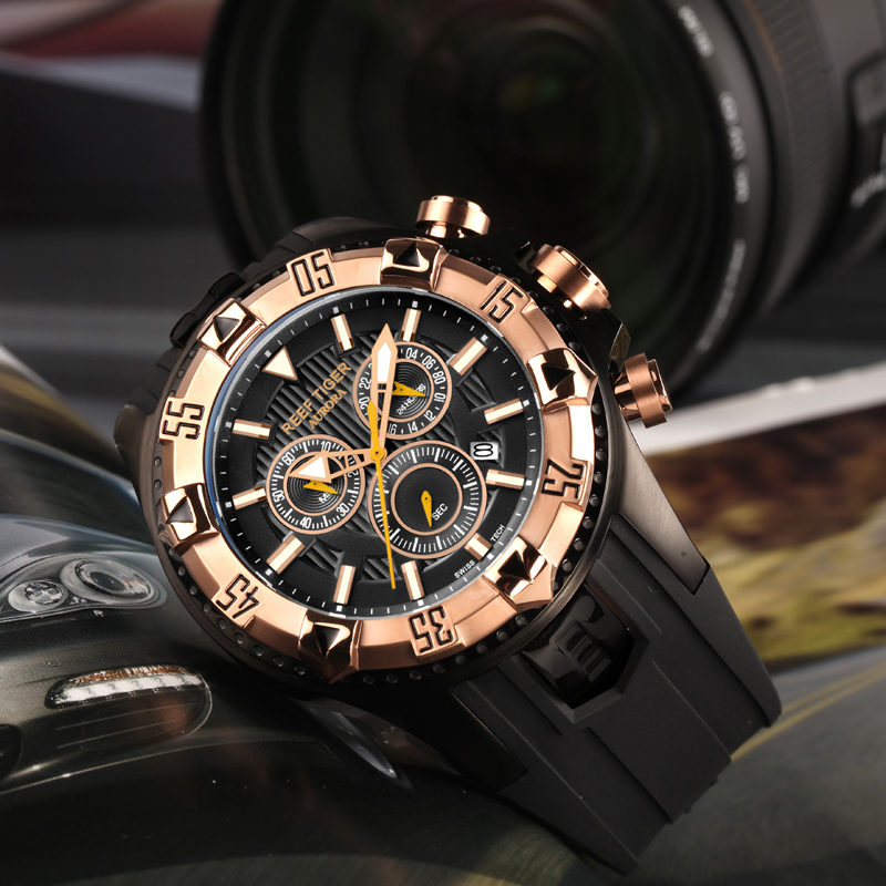 Unique And Fashionable Men's Watch: Reef Tiger Aurora Hercules Chrono Wrist Watch